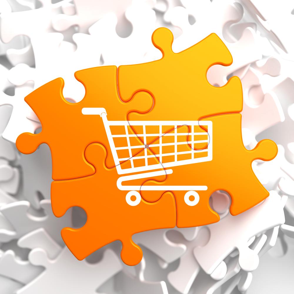 Icon of Shopping Cart on Orange Puzzle.